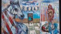 """La cebra , la niña y la Venus"", técnica mixta sobre tela, de Alejandro Teves. Obra a la venta"